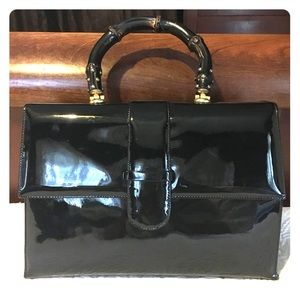 Manon Vintage Patent Leather Bamboo Handle Satchel